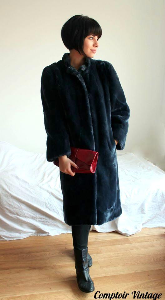 manteau vintage en fausse fourrure, années 80, Comptoir Vintage