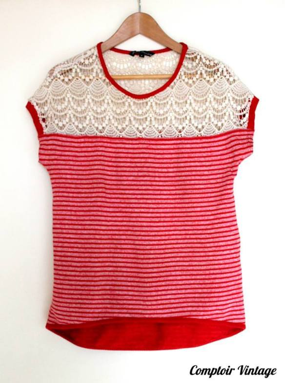T shirt marin, AVANT PREMIERE, Vintage, Comptoir Vintage